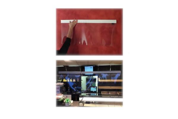Niesschutz hängend | 80 cm breit und 80 cm hoch Tragstab oben und unten | unbedruckt